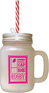 Hot Pink Grubber Maul Cap Scrum Ruck Rugby Frosted Glass Mason Jar With Straw