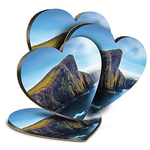 Destination Vinyl ltd Great Posavasos (juego de 4) Corazón Neist Point Isle Of Skye Scotland Drink brillante posavasos / protección de mesa para cualquier tipo de mesa #16384