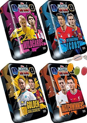 Serie 2 Topps Match Attax Champions L.eague 2020/2021 - alle 4 Mega Tin Boxen Limited Edition zusätzlich 1 x Sticker-und-co Fruchtmix Bonbon
