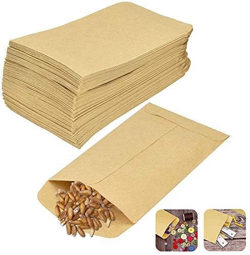 DECARETA 100 Stück Kraftpapiertüten 6 * 10 cm Papierbeutel Kraftpapier Papiertüten Kleine Braune Flachbeutel Papier Geschenktüten Schmucktüten für Süßigkeiten Samen Hochzeit Geschenke Party Geburstag