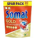 Somat 12 Gold Multi Aktiv, Spülmaschinentabs, Sparpack, 80 Tabs, Extra-Kraft gegen Eingebranntes und Glanz-Effekt