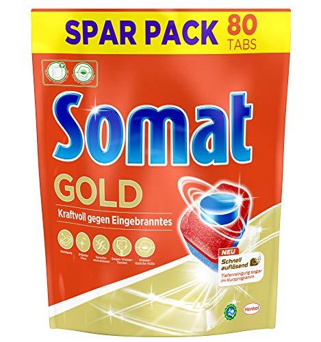 Somat Gold, Spülmaschinentabs, Sparpack, 80 Tabs, Extra Kraft gegen Eingebranntes und Glanz Effekt