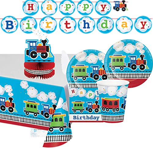 Train Party Supplies and Decorations - Plates Cups Napkins for 16 People - Includes Banner, Tablecloth and Centerpiece - Perfect Train Birthday Party Decorations!