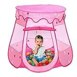 Hengda Spielzelt Spielhaus mit 100 Bälle Kinderzelt Pink Bällchenpool Kinder Pool für draußen un...