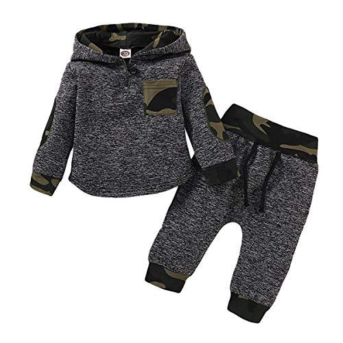 SANMIO 2Pcs Niños Ropa con Capucha Ropa Sudadera Top + Pantalones Bebés Chándal Conjuntos (Gris-...