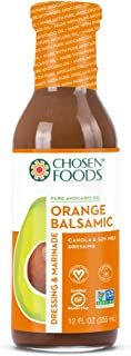 Chosen Foods Avocado Oil-Based Orange Balsamic Dressing and Marinade 12 oz. (6 Pack), Non-GMO, Certified Vegan, Gluten Free and Soy Free