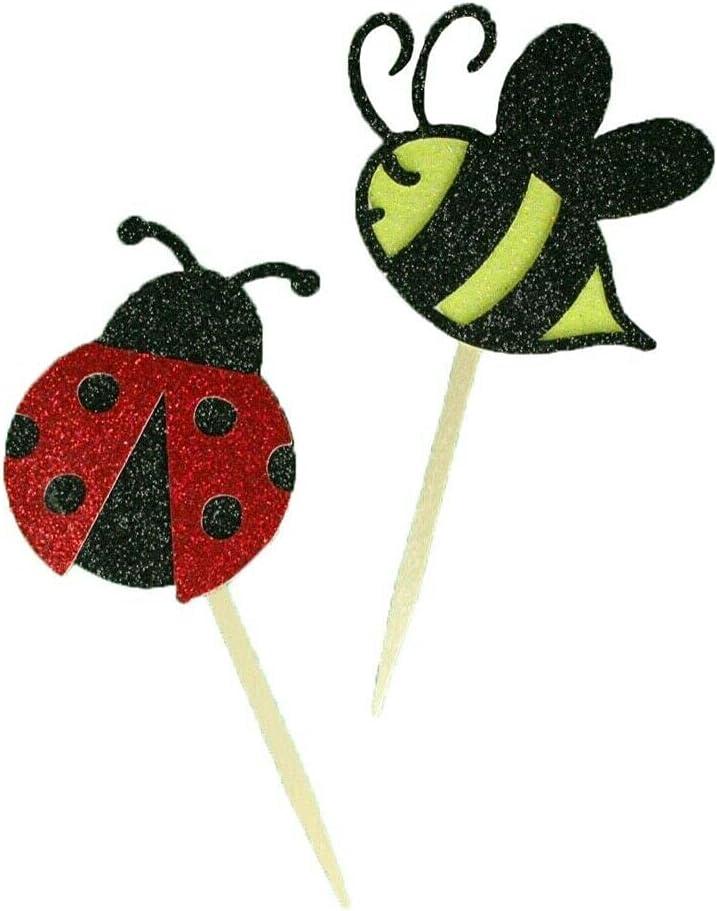 24 Pieces Glitter Lady Omaha Ranking TOP9 Mall Bug Cupcake Birthday BEE Spring SRAu