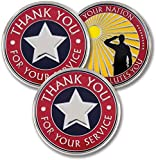 """A SIMPLE THANKS CAN MEAN SO MUCH TO A VETERAN – Express gratitude to troops from all services - Army, United States Navy, Air Force, Marines, & Coast Guard. Designed to speak just the right words: the front says, """"Thank You for Your Service"""", the bac..."""