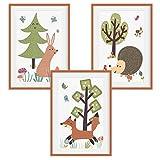 HappyWords® 3er Bilder Set   DIN A4 ohne Bilderrahmen | Bilder für Kinderzimmer & Bilder Babyzimmer | Junge Mädchen Baby | Kinder Poster | Tiere Kinderbilder Kinderzimmer | 3er Set Waldtiere Retro 2