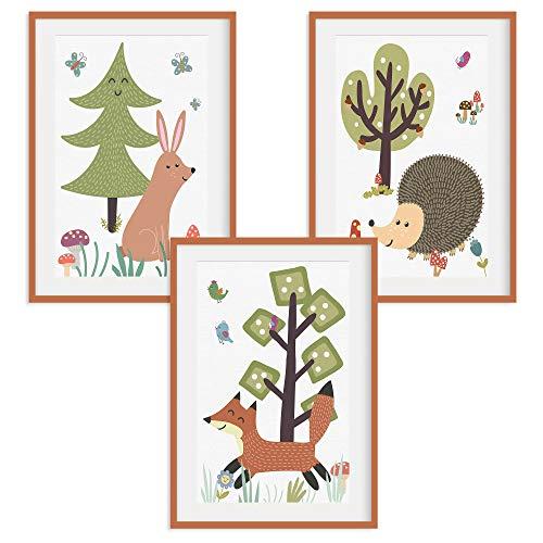 HappyWords® 3er Bilder Set - DIN A4 ohne Bilderrahmen | Bilder für Kinderzimmer & Bilder Babyzimmer | Junge Mädchen Baby | Kinder-Poster | Tiere Kinderbilder Kinderzimmer | 3er Set Waldtiere Retro 2