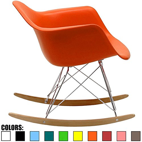2xhome Orange Mid Century Modern Molded Shell Designer Plastic Rocking Chair Chairs Armchair Arm Chair Patio Lounge Garden Nursery Living Room Rocker Replica Decor Furniture DSW Chrome
