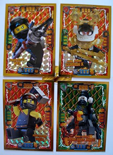Lego Ninjago Serie 4 - 4 Limitierte Gold Karten Trading Card LE 2 Mega Power Cole LE 4 NYA LE 7 Samurai X LE 25 Beinloser Jäger Gold Sticker