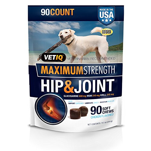 VetIQ Maximum Strength Hip and Joint Supplement for Dogs - Chicken Flavored Soft Chews, 11.1oz (90 count bag)