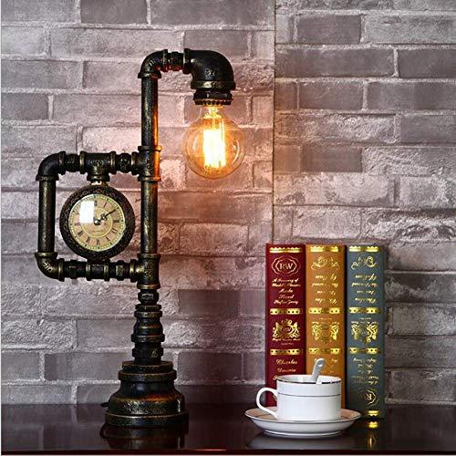 Reloj de Pared Decorativo Lámpara de Mesa de tubería de Agua Industrial Vintage Lámpara de Escritorio de Cobre rústico E27 con Reloj Luz de Noche Creativa