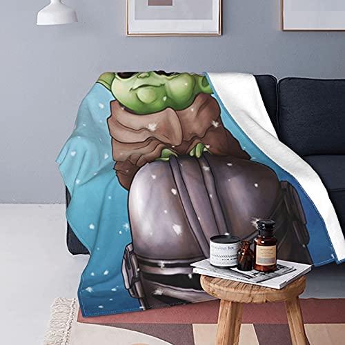 Baby-Yoda - Manta de forro polar ultra suave y cálida con impresión digital para Halloween, Navidad, regalo de cumpleaños, manta de franela de 80 x 60 pulgadas