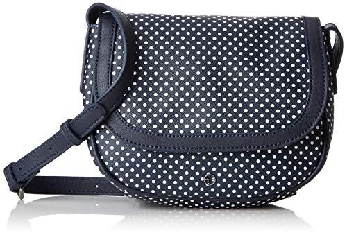 Tamaris Damen Myrta Crossbody Bag Umhängetasche, Marineblauer weißer Punkt , 8x17x22 cm