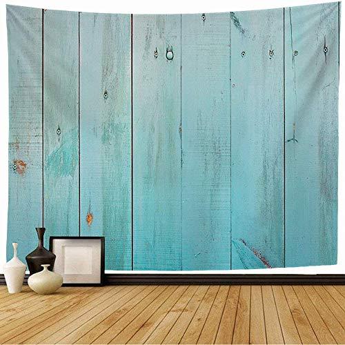 N\A Wandteppich Blauer Boden Rustikal Alte Holzwand Nahaufnahme Abstrakt Braun Holzplanke Farbe Panel Zaun Farbe Weiß Tapisserie Wandbehang Strand Tapisserie für Wohnkultur