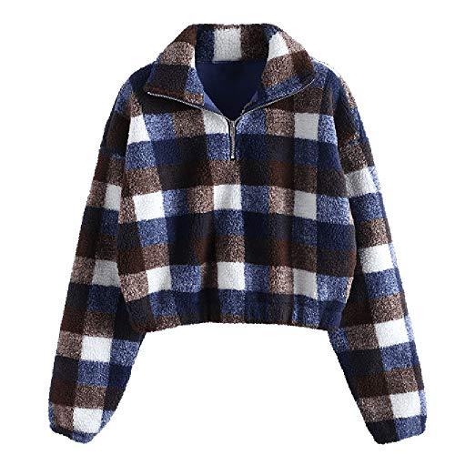 ZAFUL Damen Winter Pulli Pullover Teddy-Fleece Sweatshirt Warm Langarm Oberteile Plaid Jacke Outwear (M, Blau Plaid)