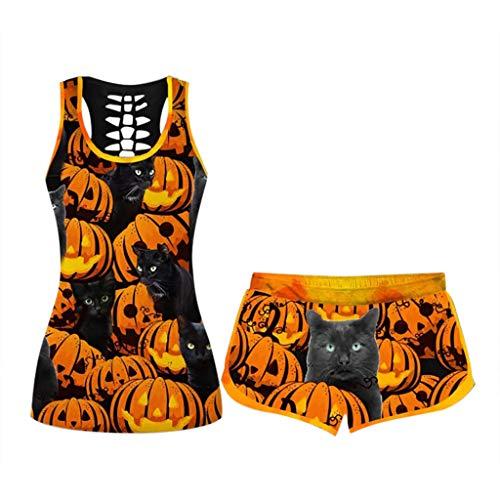 ZEFOTIM - Conjunto de 2 piezas de Halloween para mujer, divertido y suelto - - 5X-Large