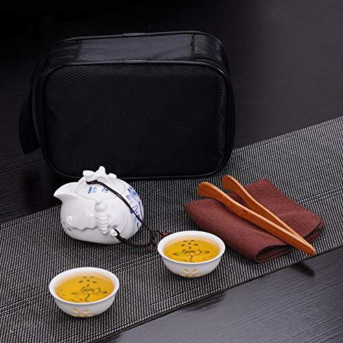 QCCOKNN Juego de té de cerámica conjunto de té hueco flor azul y blanco taza de porcelana