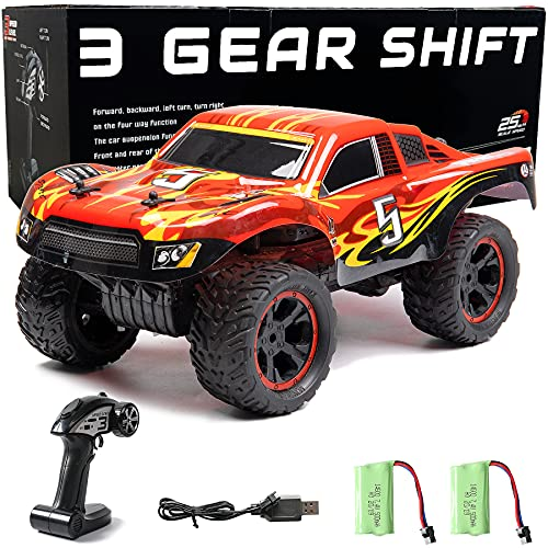 RC Cars Outdoor Remote Control Trucks for Kids 1:12 Scale Monster Hobby RC Trucks High-Speed 3 Gear Shift 2.4GHz Off Road RC Truck with Two Rechargeable Batteries,Electric Toy for Boys Kids