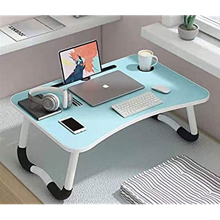 LuvBells® Smart Multi-Purpose Laptop Table with Dock Stand and Coffee Cup Holder/Study Table/Bed Table/Foldable and Portable/Ergonomic & Rounded Edges/Non-Slip Legs/Engineered Wood (Mint Blue)