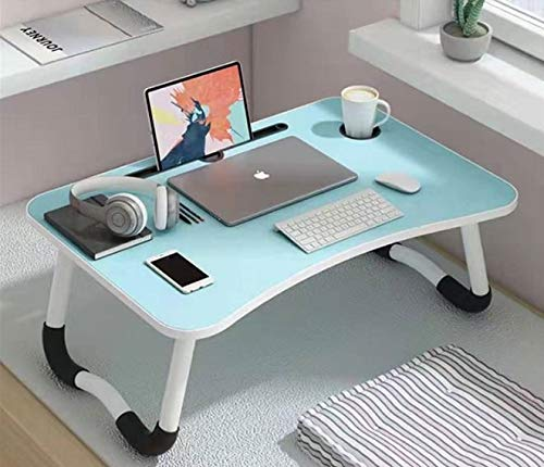 LuvBells Smart Multi-Purpose Laptop Table with Dock Stand and Coffee Cup Holder/Study Table/Bed Table/Foldable and Portable/Ergonomic & Rounded Edges/Non-Slip Legs/Engineered Wood (Mint Blue)