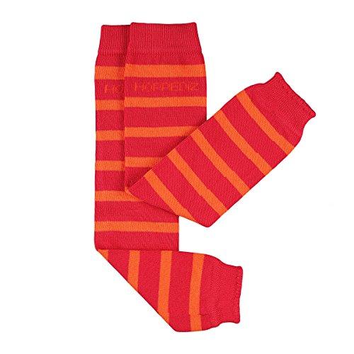 HOPPEDIZ® Baby-Stulpen aus Bio-Baumwolle rot mit orangen Streifen