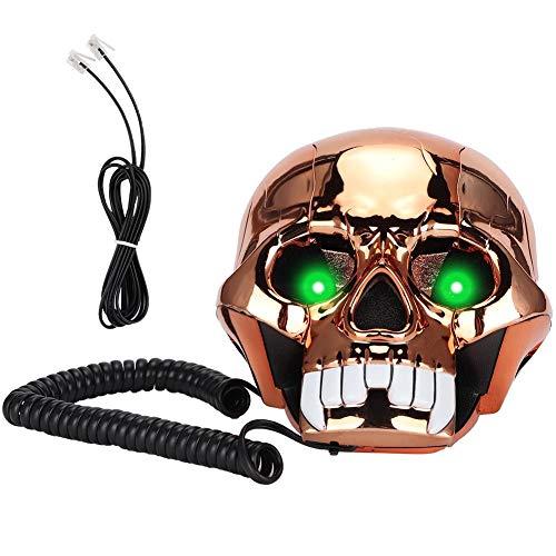 Teléfono con Cable, teléfono Fijo Multifuncional Teléfono Fijo Escritorio Forma de Calavera Decoración Divertida Teléfono Regalo para niños con función de Almacenamiento de números.(Oro)