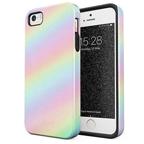 Glitbit Cover per iPhone 5 / 5s / SE Pastel Rainbow Unicorn Colors Ombre Pattern Holographic Dye Tumblr Kawaii Arcobaleno Colorate agli Urti Ed A Doppio Strato + Custodia Protettiva in Silicone Case