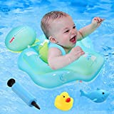 Baby Pool Float,Inflatable Swimming Pool Floats Ring with Safe Bottom Support Children Waist Swim,Water Toys Accessories,Bathtub Swim Trainer for Age of 6-36 Months(Upgraded Version)