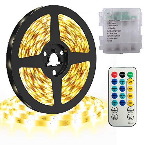 DreiWasser LED Licht Streifen, 5m 150 LEDs Lichtband Batteriebetrieben Streifenlichter 8 Modi mit IR Fernbedienung (Warmweiß)