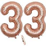 """2 Numero di Palloncini 33,Numero 33 Compleanno Decorazione Oro Rosa Ragazza,40"""" Palloncino a Foglio di Elio Gonfiabile,Happy Birthday Party Palloncino Gigante Prom Festa Party(XXXL 100cm)"""