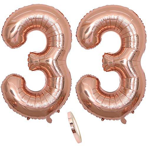 2 Globos Número 33 Años, Number 33 Globo Chica de oro rosa, 40Figuras de globos con globo de lámina de helio inflable, Globo gigante para la decoración de la fiesta de cumpleaños, Prom (xxxl 100cm)