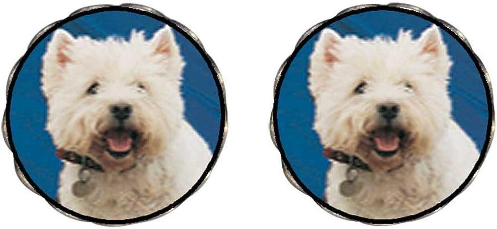 GiftJewelryShop Bronze Retro Style West Highland Terrier Photo Clip On Earrings Flower Earrings #12