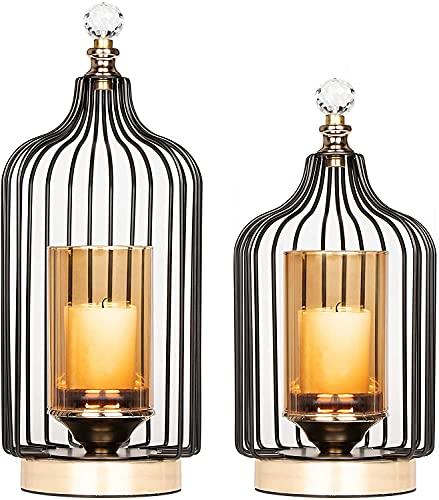 Juego de 2 candelabros decorativos de metal para velas de pilar, para decoración del hogar, boda, granja, decoración de mesa