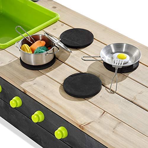 EXIT Aksent Holzsandkasten mit Spielküche / Material: Zedernholz / 200 x 140 x 29 cm / Gewicht: 24 kg / für Kinder ab 3 Jahren geeignet