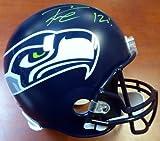 Authentic Autographed Russell Wilson Seattle Seahawks Riddell Football Helmet 12s In Green RW ~ NFL Football Helmets
