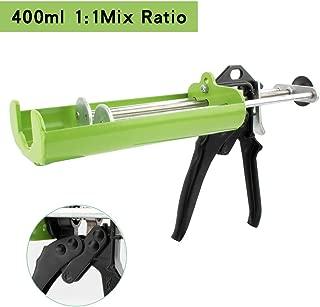 Manual Epoxy Applicator Gun 400 mL/13.5 fl oz (1:1 Mix Ratio) Dual Component Adhesive Cartridge Applicator Double Caulk Gun 2 Part Caulking Gun (Prairie Green)