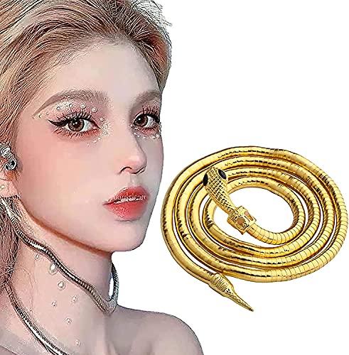 Collar de Serpiente Creative Freedom, Gargantilla de Collar de Serpiente Deslizante Punk, Collar de Serpiente Flexible, Collar Flexible Multiusos Ajustable con Giro de Serpiente (Dorado)