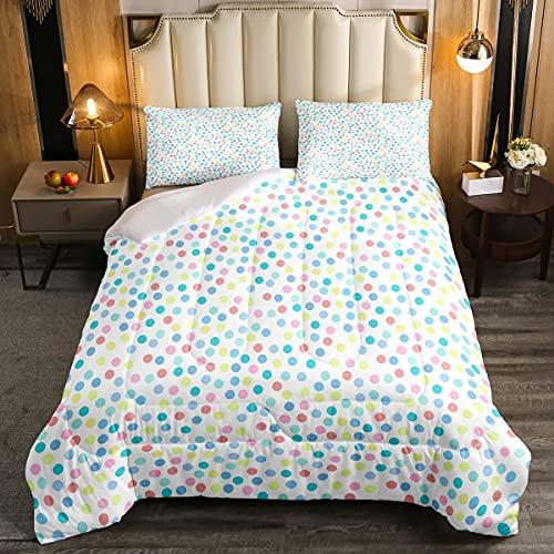 Erosebridal Polka Dots Comforter Set Twin Size,Colorful Watercolor Dots Bedding Set for Kids Girls Teens Geometric Circle Pattern Down Comforter Soft Lightweight Duvet Sets Bedroom Decor 2 Pcs