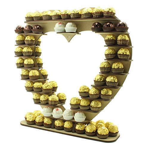 Ferrero Rocher Chocolade Hart Favour Houten Stand Centerpiece, Perfect voor feesten, bruiloften en Valentijnsdag (42cm x 40cm)