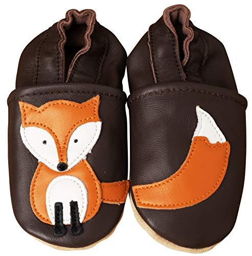 ENGEL + PIRATEN Krabbelschuhe MARKENQUALITÄT Babyschuhe Leder Lauflernschuhe Lederpuschen VIELE Modelle (12-18 Monate(Gr.20/21), Fuchs Braun)
