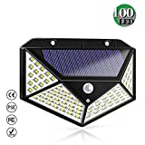 Luz Solar Exterior, Bicolor 100 LED Foco Solar Exterior con Sensor de Movimiento 1800mAh Impermeable Inalámbrico...