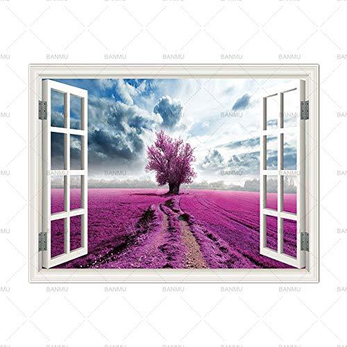 LILUOZSH Picture Printing Op Doek, Muurkunst Foto Prints Op Bomen Buiten Het Venster Home Decor Canvas Schilderij Wandposter Decoratie Voor Woonkamer Geen Frame 80×120cm