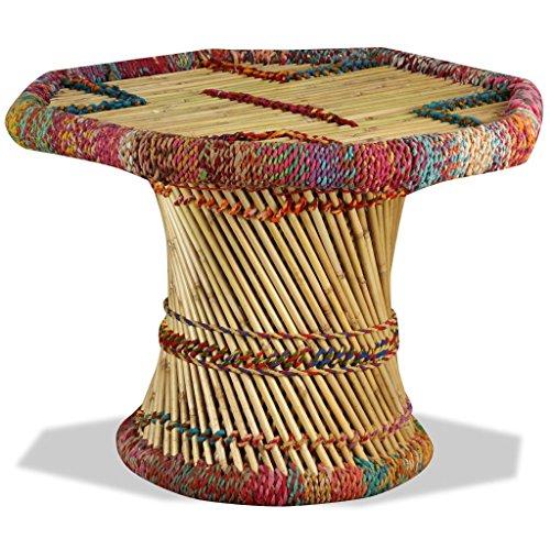 Festnight Table Basse en Bambou avec Détails Chindi Multicolore 60 x 60 x 45 cm