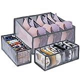 MengH-SHOP Aufbewahrungsbox für Unterwäsche Faltbare Schublade Organizer mit Trennwänden Separator für Büstenhalter Socken Krawatten Organizer 3 Stücke Grau