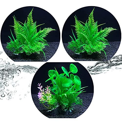 3 Piezas de Decoración de Plantas Subacuáticas, Decoración de Pecera con Base, para Plantas Hidropónicas de Simulación de Oficina en Casa