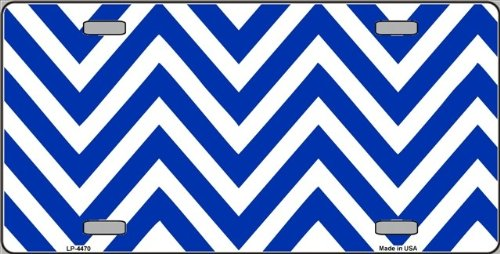 Blue | White Large Chevron Print Blank Metal License Plate Tag Sign Blanks