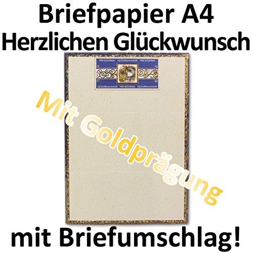 Exclusief briefpapier DIN A4 vel met geold reliëf en tekst: